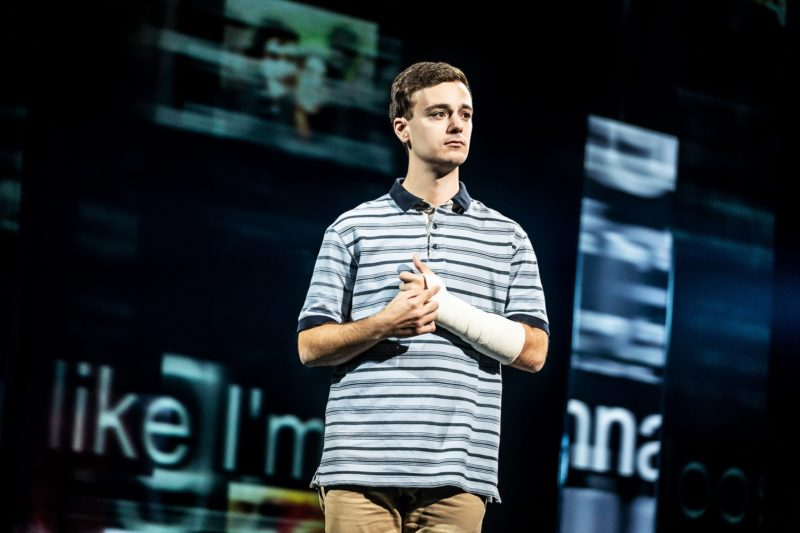 4- Stephen Christopher Anthony as 'Evan Hansen' in the North American touring company of DEAR EVAN HANSEN. Photo by Matthew Murphy, 2019